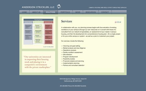 Screenshot of Services Page andersonstrickler.com - Anderson Strickler, LLC - Services - captured Oct. 4, 2014