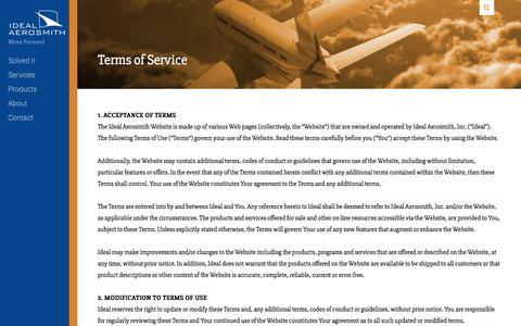 Screenshot of Terms Page ideal-aerosmith.com - Terms of Service | Ideal Aerosmith - captured Oct. 14, 2017