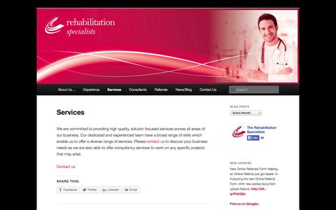 Screenshot of Services Page rehabilitationspecialists.com.au - Services | The Rehabilitation Specialists - captured Oct. 6, 2014