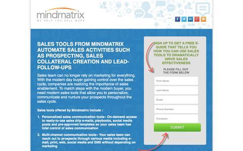 Screenshot of Landing Page mindmatrix.net - sales tools - sales enablement software   Mindmatrix - captured July 15, 2016