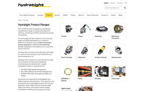 Screenshot of Products Page hydratight.com - Hydratight Product Ranges | English | Hydratight - captured July 24, 2018