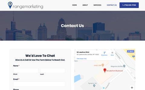 Screenshot of Contact Page rangemarketing.com - Contact Us | Range Marketing | Search Engine Optimization, Web Design, Internet Marketing Services & PPC - captured Nov. 7, 2018