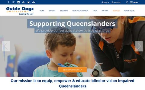 Screenshot of Services Page guidedogsqld.com.au - Services - Guide Dogs QueenslandGuide Dogs Queensland - captured Oct. 3, 2014