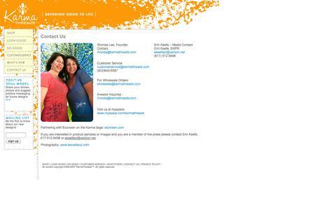 Screenshot of Contact Page karmathreads.com - Karma Threads - captured Sept. 30, 2014