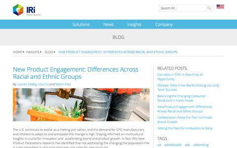 Screenshot of Blog iriworldwide.com - New Product Engagement: Differences Across Racial and Ethnic Groups - captured Jan. 6, 2020