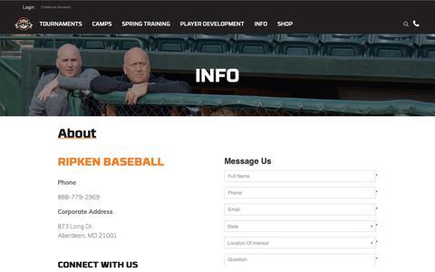 Screenshot of About Page ripkenbaseball.com - About - captured Oct. 11, 2018