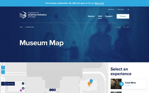 Screenshot of Maps & Directions Page msichicago.org - Museum Map - Museum of Science and Industry - captured Sept. 20, 2016
