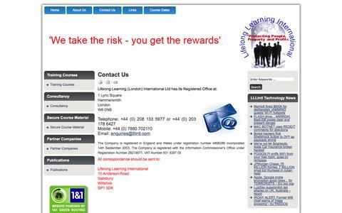 Screenshot of Contact Page lllintl.com - Contact Us - captured Oct. 4, 2014