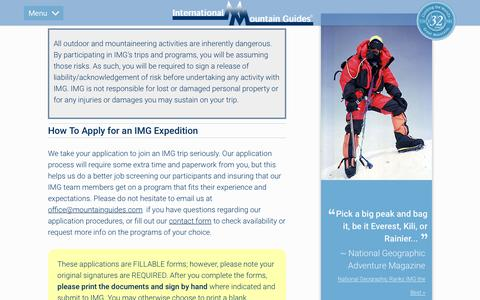Screenshot of Signup Page mountainguides.com - Sign Up for an Expedition with International Mountain Guides - captured Dec. 15, 2018