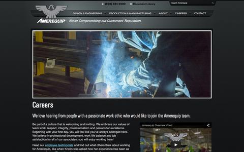 Screenshot of Jobs Page amerequip.com - Employment at Amerequip (ARPS) - Design, Engineering and Manufacturing Solutions for OEMs - captured Feb. 6, 2016