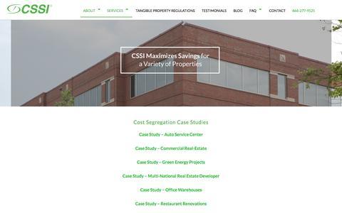 Screenshot of Case Studies Page costsegregationservices.com - CSSI Cost Segregation Case Studies - captured Oct. 12, 2016