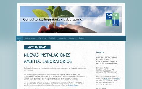 Screenshot of Home Page ambiteclaboratorios.com - AMBITEC LABORATORIOS: Laboratorio, Consultoría e Ingenería Medioambiental y Agroalimentaria - captured Oct. 4, 2014