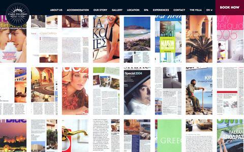 Screenshot of Press Page casadelfino.com - Press & Media of Casa Delfino in Chania in Crete - captured July 17, 2017
