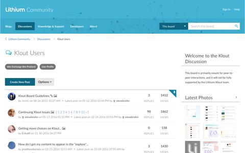 Klout Users - Lithium Community