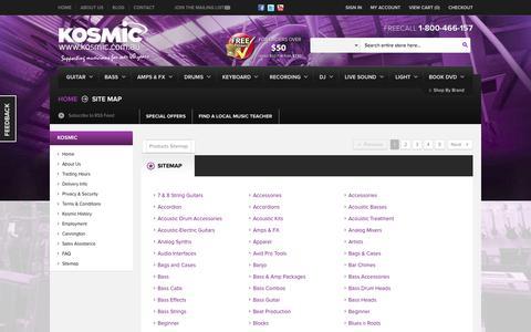 Screenshot of Site Map Page kosmic.com.au - Site Map - Online Music Store Australia - Kosmic Sound - captured Oct. 27, 2014