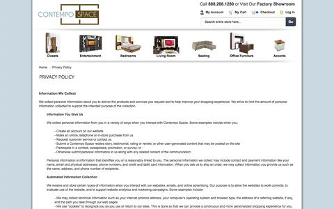 Screenshot of Privacy Page contempospace.com - Privacy Policy - captured Sept. 19, 2014