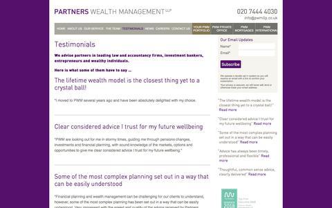 Screenshot of Testimonials Page partnerswealthmanagement.co.uk - Testimonials | Partners Wealth Management - captured July 16, 2018