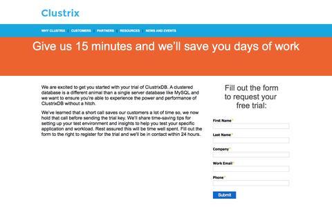Screenshot of Trial Page clustrix.com captured Nov. 10, 2015