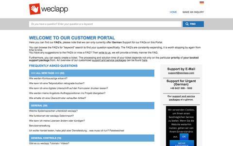 Screenshot of Support Page weclapp.com - Helpdesk - Portal - captured Dec. 16, 2016