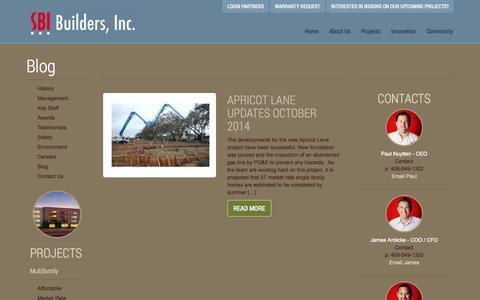 Screenshot of Blog sbibuilders.com - Blog « SBI Builders Inc. - captured Nov. 2, 2014
