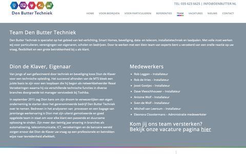 Screenshot of Team Page denbutter.nl - Team - Den Butter Techniek - captured Oct. 8, 2018