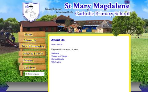 Screenshot of About Page stmarymagdalenemk.co.uk - About Us | St Mary Magdalene Catholic Primary School - captured April 13, 2016