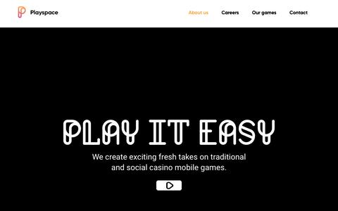 Screenshot of About Page playspace.com - Playspace – The games you love to play - captured Sept. 28, 2018