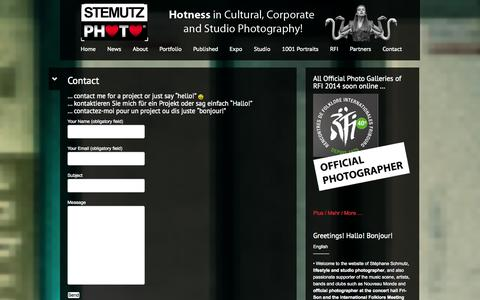 Screenshot of Contact Page stemutz.ch - Contact   STEMUTZ PHOTO – Hotness in Cultural, Corporate & Studio Photography! - captured Oct. 3, 2014