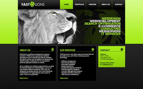 Screenshot of Home Page fastlions.nl - FastLions - Web development & Custom Software - captured Sept. 30, 2014