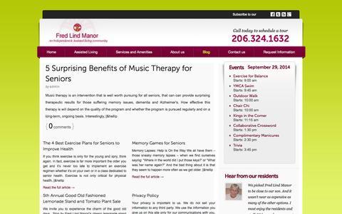 Screenshot of Blog fredlindmanor.com - Independent and Assisted Living in Seattle | Fred Lind Manor - captured Sept. 30, 2014
