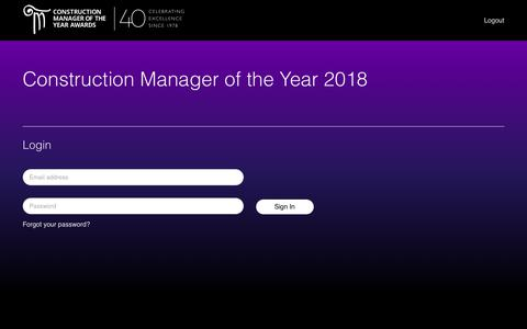 Screenshot of Login Page cmya.co.uk - The Construction Manager of the Year Awards - captured June 9, 2018
