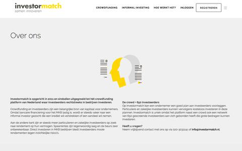Screenshot of Team Page investormatch.nl - Over ons - captured Sept. 19, 2018