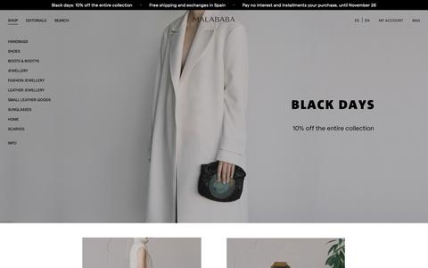 Screenshot of Home Page malababa.com - Malababa online store. Bags, jewelery and shoes Malababa - captured Nov. 24, 2018