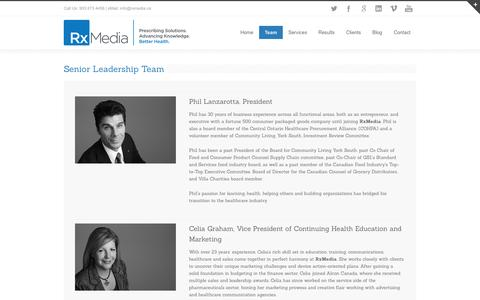 Screenshot of Team Page rxmedia.ca - RxMedia Healthcare Communications Team in Mississauga - captured Oct. 7, 2014