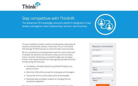 Screenshot of Landing Page thinkhr.com - ThinkHR Consultation - captured Oct. 19, 2016