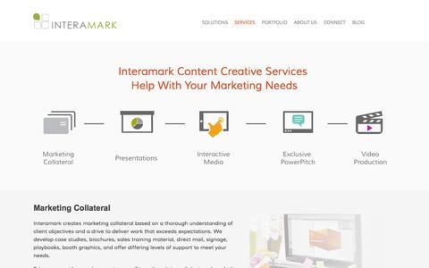 Screenshot of Services Page interamark.com - Content Creative Marketing Services - captured Oct. 29, 2014