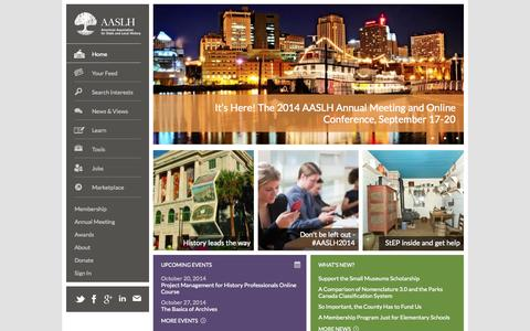 Screenshot of Home Page aaslh.org - Home Page  |  About, contact, membership, jobs, etc. - captured Sept. 23, 2014