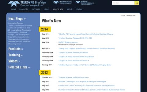 Screenshot of Press Page blueview.com - What's New - Teledyne-BlueView - captured July 20, 2014