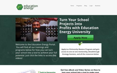 Screenshot of Home Page educationenergy.net - Education Energy — Education Energy - captured Sept. 29, 2014