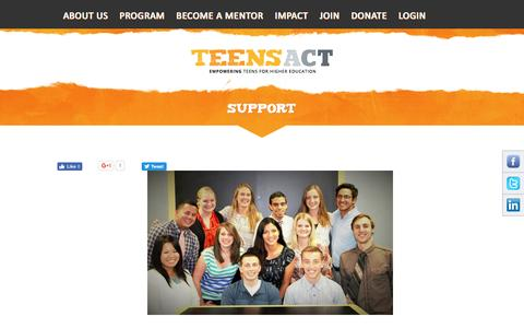Screenshot of Signup Page teens-act.org - Support - captured Aug. 13, 2016