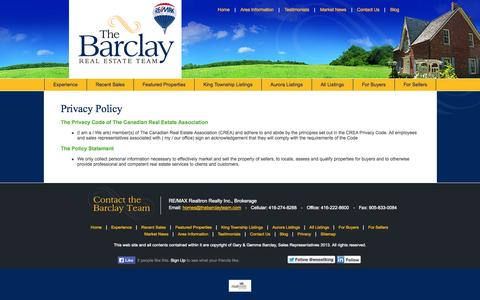 Screenshot of Privacy Page wesellking.com - Gemma Barclay, Sales Representative :: RE/MAX Realtron Realty Inc., Brokerage - captured Oct. 2, 2014