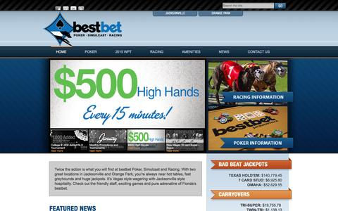 Screenshot of Home Page bestbetjax.com - bestbet | Poker – Simulcast – Racing - captured Jan. 14, 2016
