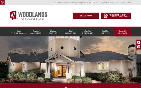 Screenshot of Contact Page woodlandsofcollegestation.com - Woodlands of College Station   Texas A&M Apartments   Contact - captured Oct. 18, 2018