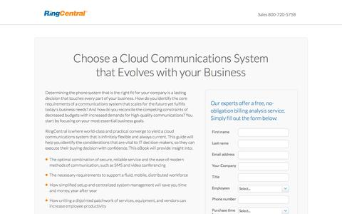 Screenshot of Landing Page ringcentral.com - Choose a Cloud Communications System that Evolves with your Business - captured Feb. 6, 2017
