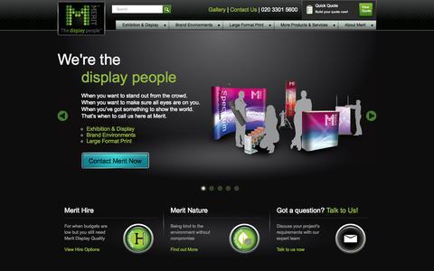 Screenshot of Home Page merit-display.co.uk - Exhibition Stands | Display Stands | Merit Display - captured Sept. 30, 2014