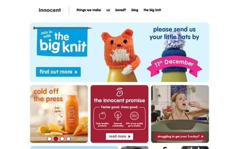 Screenshot of Home Page innocentdrinks.co.uk - innocent Đ 100% pure fruit smoothies, orange juice, kids smoothies and tasty veg pots - captured Dec. 1, 2015