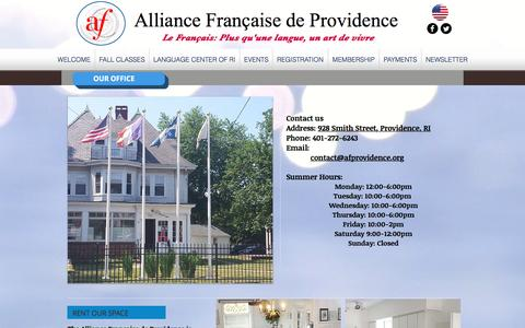 Screenshot of Contact Page Hours Page afprovidence.org - Alliance Française de Providence | OUR OFFICE - captured Sept. 28, 2016