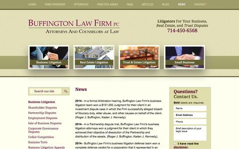 Screenshot of Press Page buffingtonlawfirm.com - News | Buffington Law Firm, PC | Orange County, California - captured Oct. 5, 2014