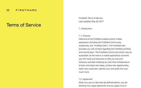 Screenshot of Terms Page firstmarkcap.com - Terms of Service - FirstMark - captured Jan. 11, 2019