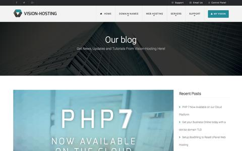 Screenshot of Blog vision-hosting.co.uk - Our Blog | Updates, News, Tutorials and Special Offers - captured Nov. 15, 2017
